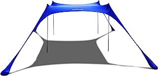 KAZZARY 沙滩帐篷遮篷 - 遮阳弹出式户外后院 UPF50 防紫外线轻质,4 个高铝杆便携式和灵活的家庭收容棚(亮蓝色,3 x 3 m 4 杆)