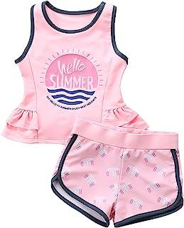 女童两件套分体泳衣套装无袖背心和短裤泳衣