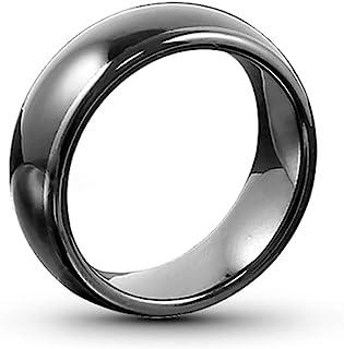 HECERE T5577 或 UID 芯片 RFID 黑色陶瓷智能手指重写戒指 125KHZ/13.56MHZ 男女佩戴(编程为 125khz-20mm)
