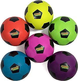 Atomic Athletics 6 只装霓虹橡胶操场足球 - 青少年 4 号,8 英寸球,带气泵和网状存储袋 K-Roo Sports 出品