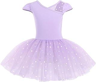 IDOPIP 儿童女孩亮片芭蕾舞裙盖袖紧身连衣裤带圆点芭蕾舞裙体操舞蹈服
