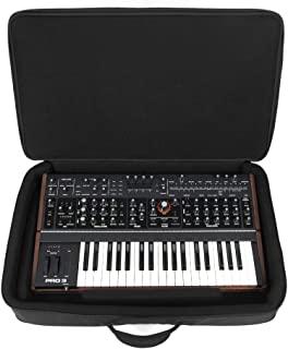 适用于 Sequential Pro 3 Behringer Odyssey 模拟保护套(2 厘米 EVA 泡沫衬垫,塑料板,外袋,背包带,厚手柄和大拉链),黑色