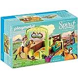 Playmobil 摩比世界 DreamWorks Spirit 9478 Lucky与 Spirit 带马厩,适合4岁…