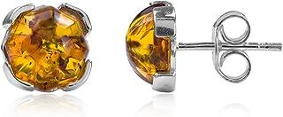 纯银蜂蜜琥珀爪耳钉