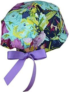 女士磨砂帽 - *帽 - 中码至大码带丝带领带 - 午夜花园