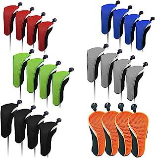 SUNBRO 高尔夫 4 件套高尔夫配件混合头套套装救援头套实用球杆保护可互换数字标签