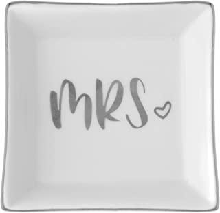 Mrs. Ring Dish,陶瓷珠宝托架托盘,新娘订婚婚礼礼物,饰品收纳架(银色方形)