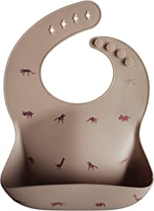 mushie 硅胶婴儿围嘴 | 可调节防水围嘴(Safari Tan)