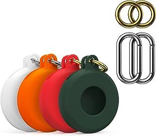 CTXTKER 硅胶保护套与 Airtag 兼容,带钥匙扣钩的保护盖,耐用防丢失,易于携带(白色+橙色+红色+*)