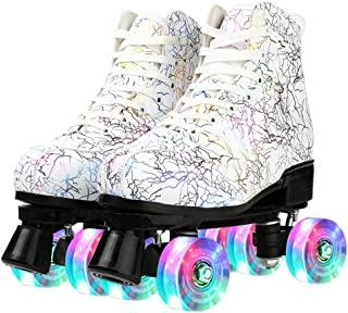 Buric 女士溜冰鞋 PU 皮高帮双排溜冰鞋适合初学者室内户外溜冰鞋