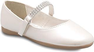 Olivia K 女童 Mary Jane 芭蕾平底鞋 - 鞋带上有水钻 - 易于魔术贴一脚蹬 Ivory Pu 12 Little Kid