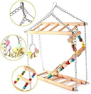 OKJ 绳梯子鸟玩具 - 鸟鹦鹉玩具 天然绳木梯子 鸟玩具 宠物鸟笼配件 适用于小长尾鹦鹉 鹦鹉 爱情鸟 锥体金刚鹦鹉 爱情鸟