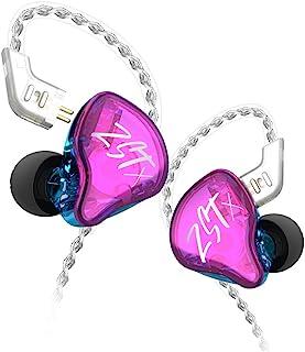 KZ ZST X 1BA+1DD 动态驱动入耳式耳机运动 DJ HiFi 耳机带*可拆卸电缆降噪耳机(无麦克风,紫色)