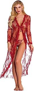 女式内衣套装蕾丝娃娃性感睡裙透视内衣带长裙 2 件套