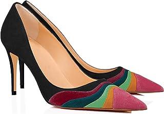 LEHOOR 女式彩虹露跟高跟鞋尖头麂皮,多色高跟鞋细高跟弹性带闭趾女士礼服派对 5-13 M 美国