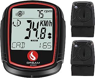 SKARLIE 自行车速度计,带无线节奏速度传感器 自行车电脑里程表背光卡路里黑色速度计