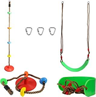 忍者战士障碍课程配件户外后院游戏套装和儿童操场训练设备软板秋千 (1) + 底盘攀岩绳 (1)