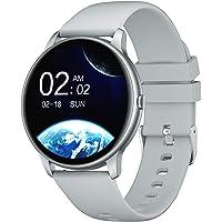 YAMAY 智能手表 兼容 iPhone 和 Android 手机 游泳防水 手表 适合男士女士圆形智能手表 健身追踪器…