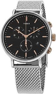 Timex 天美时 Fairfield 计时石英黑色表盘男式手表 TW2T11400
