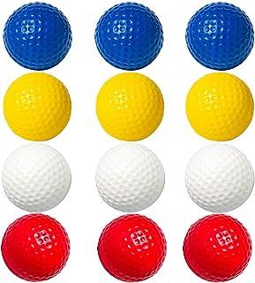 GUIMA 练习高尔夫球泡沫高尔夫球成人儿童室内地下室后院训练,12 件 40 毫米逼真感彩色高尔夫球,防凹痕持久有限飞行软高尔夫球