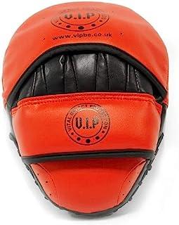 VIP 中性款皮革 Pro Fight Quality 拳击训练聚焦手套钩和爪垫,红色/黑色,均码