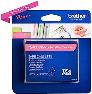 Brother 兄弟 Original P-touch 普贴趣标签带 TZe-MQP35 12mm,哑光粉底白字(适用于Brother P-touch PT-H100LB/R,-H105,-E100/VP,-D200/BW/VP,-D210/VP)