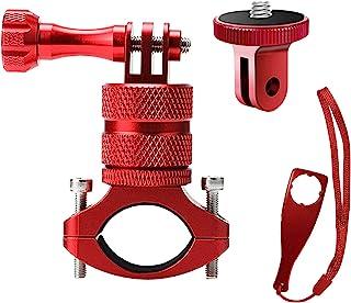 ParaPace 山地自行车支架带 ¼-20 适配器适用于 GoPro Hero 10/9/8/7/6/5s/5/4s/4/3+,360 度旋转铝制自行车车把支架自行车架调节器适用于运动相机 DJI Xiaoyi CASIO(红色)