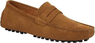JIONS 男式驾驶便士乐福鞋麂皮一脚蹬软帮平底鞋驾驶鞋 A- 卡其色 11.5 D(M) 美国/欧洲 47 码