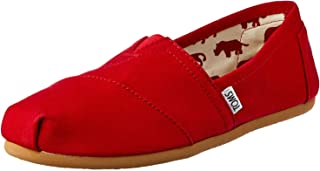 TOMS 女式帆布一脚蹬 Red Canvas 12 B(M) US