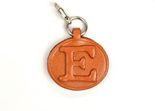 E 皮革首字母板钥匙扣 VANCA CRAFT 可收藏钥匙扣日本制造