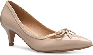 OLIVIA K 女式 ¡ 经典闭趾 D'Orsay 蝴蝶结小猫高跟鞋 - 连衣裙,工作,派对中跟高跟鞋
