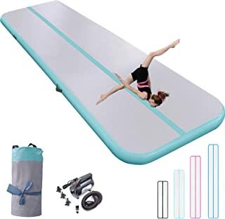 充气体操垫 10/13/16/20 英尺厚翻腾跳跃空气地板 4/8 英寸适合家庭使用/训练/健身/水上乐趣/瑜伽带气泵*/粉色/蓝色/黑色(*,13 英尺3 英尺8 英寸(4×1×0.2 米))