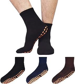 男士防滑袜子带抓地力 3 双防滑瑜伽普拉提瓷砖木地板*拖鞋袜