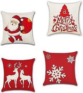 SUNTRADE 4 件套圣诞抱枕套,棉麻家居装饰圣诞节装饰沙发沙发床椅卧室汽车