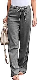Asvivid 女式时尚休闲长款休闲部落裤带口袋抽绳松紧腰裤