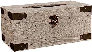 复古纸巾盒盖架,矩形防水木制复古餐巾纸分配器适合办公室厨房车(白色实木)