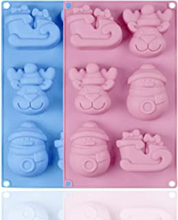 SUNTRADE 圣诞硅胶烘焙模具,适用于糖果,布丁,冰块,手工肥皂,蛋糕装饰,2 件套(颜色随机)(A)