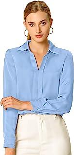 Allegra K 女式办公优雅 V 领衬衫长袖工作衬衫