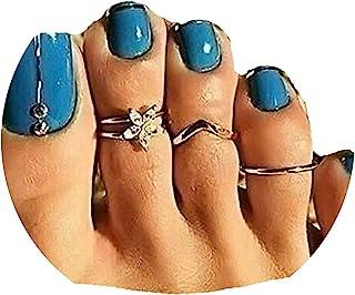 TseanYi 波西米亚风趾戒指套装银色可叠放趾环指环指环夏季脚尖中环配饰适合女士和女孩