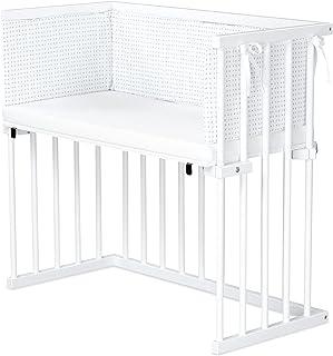 dreamgood 床边床,山毛榉,白色喷漆 | 床垫 Prime Air | 小床,白色,混合星星,浅灰色/银灰色