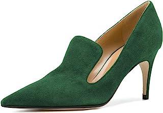 YDN 女式低跟一脚蹬乐福鞋细高跟鞋尖头拖鞋麂皮舞鞋