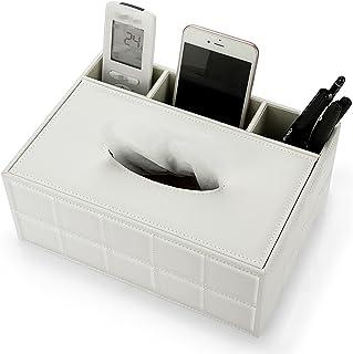 Sumnacon PU 皮革矩形纸巾盒盖 - 多功能纸巾架带文具遥控盒,装饰性纸巾笔遥控器适用于桌子、家庭、办公室、餐厅装饰,白色