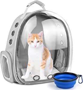 猫咪背包气泡,大空间胶囊宠物背包,小狗旅行背包背包背包背包背包背包背包背包背包航空公司批准的便携式小狗兔子兔子携带包,适合户外远足(灰色和碗)