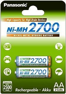 Panasonic 松下 高容量 镍氢电池 2700 AA 迷你 2 件装 小达2500 mAh 高容量 2er Pack AA