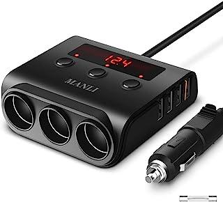 点烟器车载适配器,MANLJ 100W 12V/24V 3插座车载分配器充电器4 USB 端口,车载适配器适用于GPS,行车记录仪,车载吸尘器,iPhone,iPad,三星