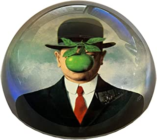 Parastone | 玻璃圓頂紙張重量 | 7.62 cm 長 x 7.62 cm 寬 x 3.81 cm 高 | 隨附優雅的禮盒 Magritte - The Son Of Man