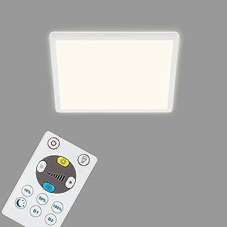 Briloner Leuchten - LED 面板,可调光吸顶灯,带背光,包括遥控器,18瓦,2400流明,白色,293x293x28mm (长x宽x高),7081-016