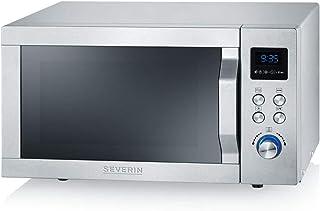 SEVERIN MW 7754 微波炉,烧烤,超热空气功能,烤箱,900 瓦,25 升,拉丝不锈钢-银色