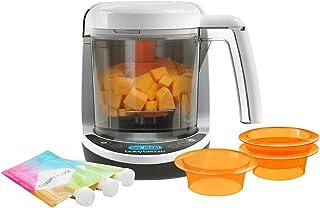 Baby Brezza 一步式食品机,配有 1 个婴儿食品机,3 个可重复使用的食品袋,3 个易填充漏斗,白色