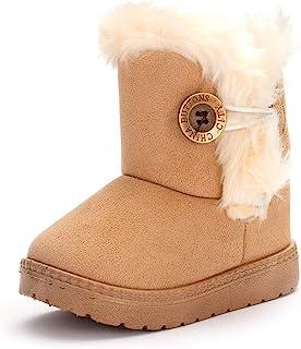 COSANKIM 男婴女童雪地靴舒适毛皮防滑幼儿学步鞋户外冬季鞋(幼儿/小童)